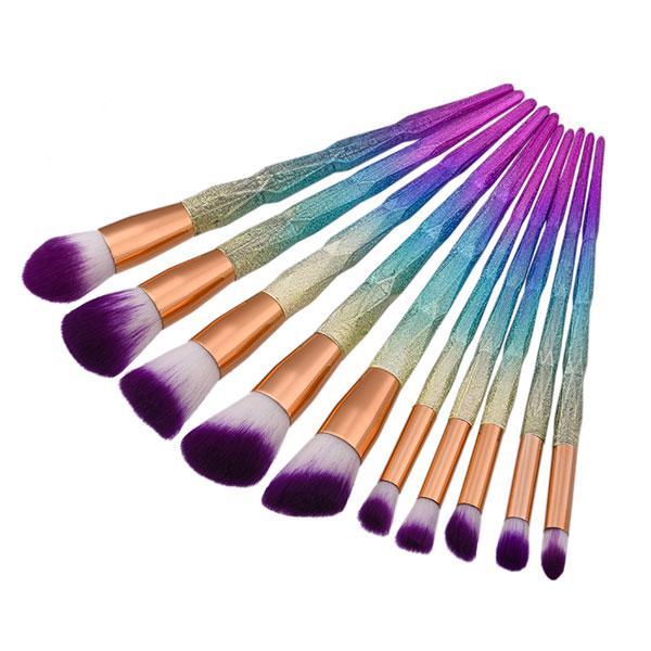 Mais novo 10 pçs / set Colorido Make Up Sobrancelha Delineador Blush Blending Contour Fundação Cosméticos Mulheres Beleza Make up Brush Tools B002