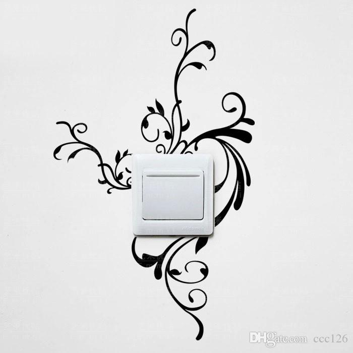 Pretty flower vine switch laptop cup family Wall stickers decoration decor home decals fashion waterproof bedroom living sofa