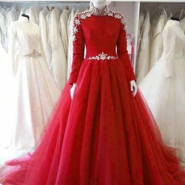 Красное бальное платье Свадебное платье Модест с высокой горловиной и длинными рукавами Кристаллы Украшенные тюль Свадебные платья на заказ Sweep Train
