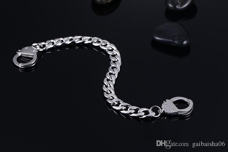 Meaeguet Silver Stainless Steel Bangles Men's Double Handcuff Cuban Curb Link Chain Cuff Bracelet 20.5cm BR-277