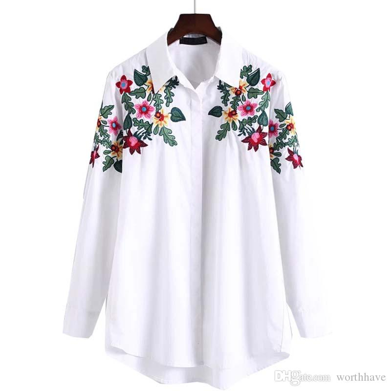 73e35112022 2017 New Fashion Design Floral Embroidery Turn-down Collar Shirt Casual  Long Sleeve Vintage Women Flowers Tops Workwear White Cotton Blouse Women  Blouses ...