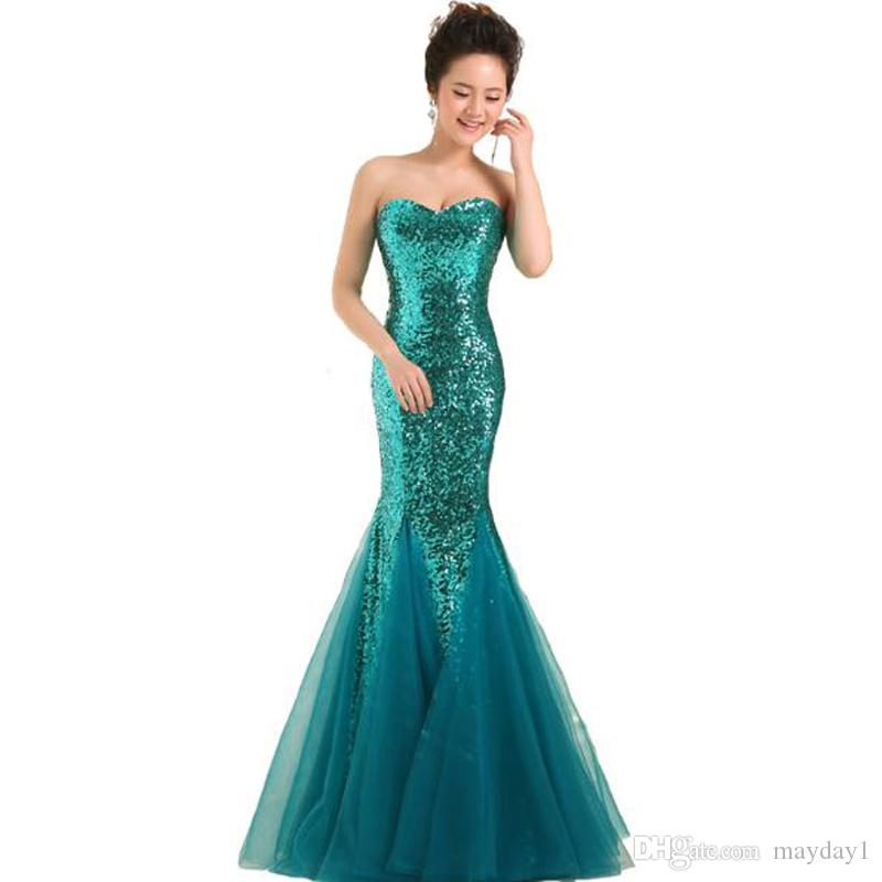 Fashion Fabulous Fast Delivery Dark Salmon Purple Long Mermaid Prom Dresses Sweetheart Sequins Party Maxi Dress For Women Gold mermaid Gown