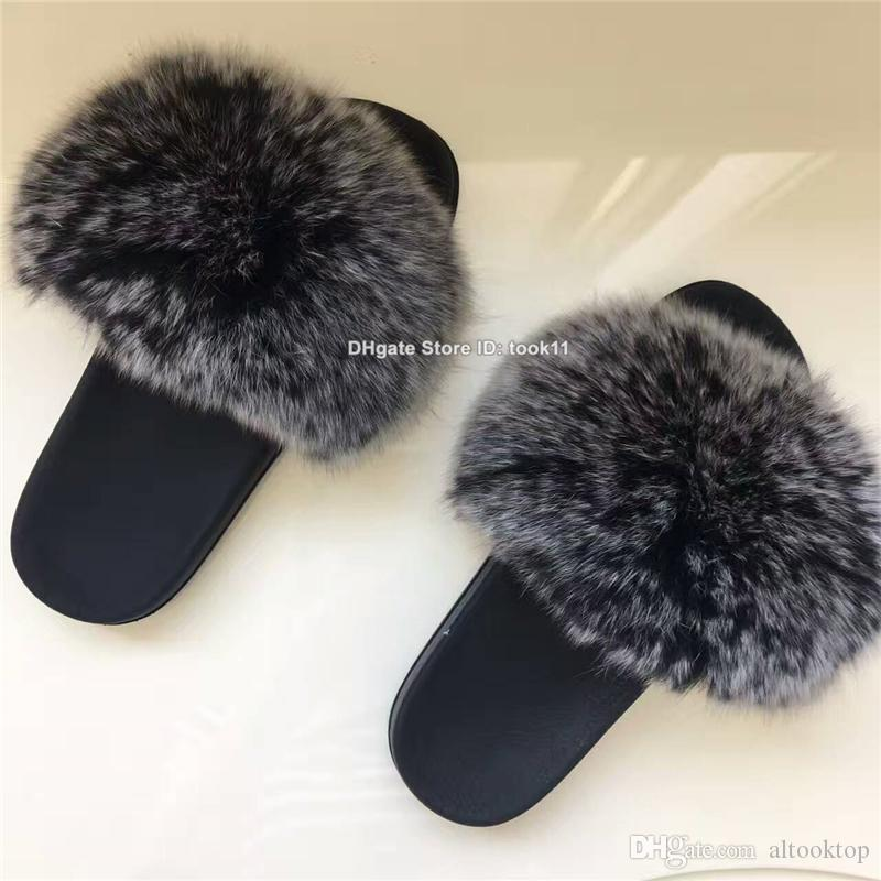 Wholesale summer fashion women fox fur slippers fur home outdoor slides plush fuzzy slippers flat heel shoes beach unicornio rihanna