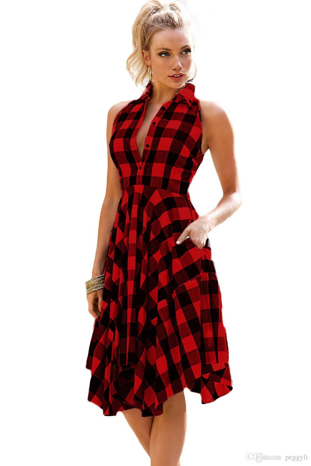 Red Black Two Tone Denim Checks Flared Shirt Dress 2017 Modest ...