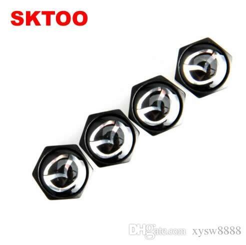 Araba Logo Rozetler Amblemler Siyah Mazda ile Perakende Kutu YX-0020 ile Kilitlenebilir Siyah Mazda Anti-Theft Toz Cap Lastik valf kapakları