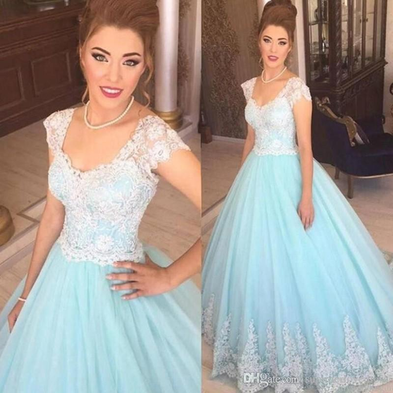 2017 New Elegant Cap Sleeves Lace Ball Gown Quinceanera Dresses Tulle Applique Floor Length Evening Dresses