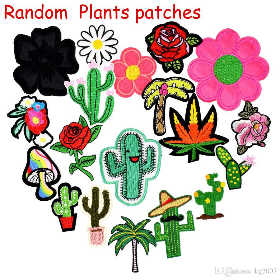 Random Diy Plant patches for clothing iron embroidered patch applique iron on patches sewing accessories badge for clothes bag