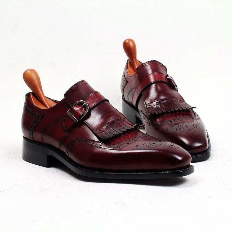 Erkekler Elbise ayakkabı Oxford ayakkabı Monk ayakkabı Özel El Yapımı ayakkabı Kare kayış tek kayış Hakiki buzağı deri Renk bordo HD-N176