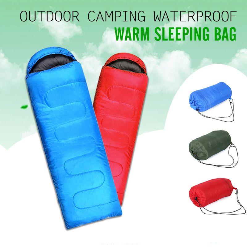 Outdoor Thermal Sleeping Bag Envelope Hooded Travel Camping Keep Warm Water Resistant Bags