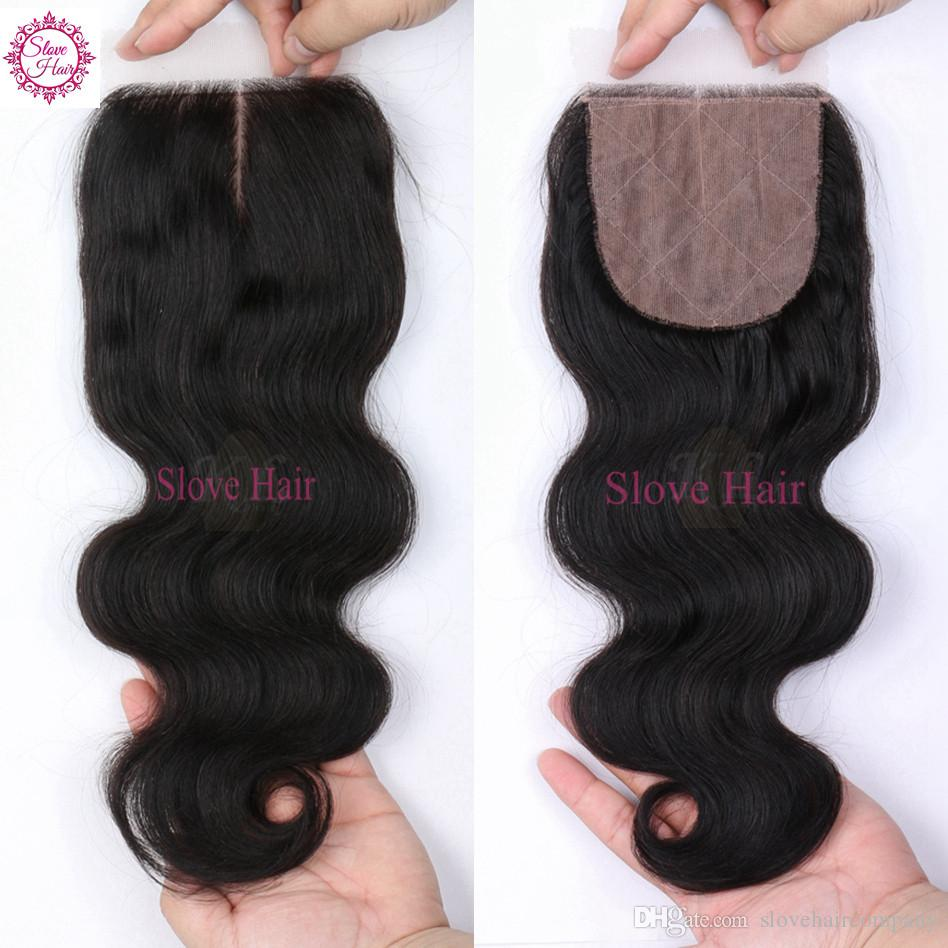 Brazilian Body Wave Silk Base Closure With Bundles 8A Grade Virgin Hair Human Hair 3/4Bundles With Silk Base Closure