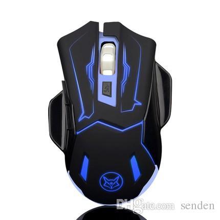 Super Ice Fox USB Wiederaufladbare Wireless Gaming Mouse mit blinkenden Hintergrundbeleuchtung Q5 Silent Gamer 6D Optische Mäuse für Desktop PC Laptop Notebook