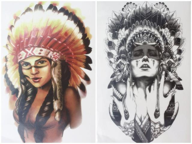 Wholesale-2 pcs/set Tattoo Ancient women Indian Chief girl warrior with  Feathers hat Waterproof Temporary Tattoo Stickers