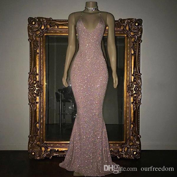Rosa Long Prom Dresses 2019 sjöjungfru för svarta tjejer Sequined Beaded Vestidos de Noche Zipper-Up Aftonklänningar Anpassad