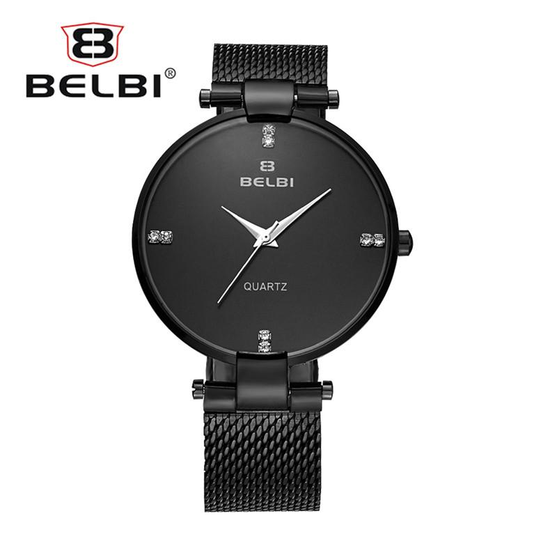 Fashion Simple Design Mens Wrist Watch Ultra-thin Steel Strap for Male Waterproof Quartz PC21 Gold Cheap Watches Brand Name BELBI Top AAA
