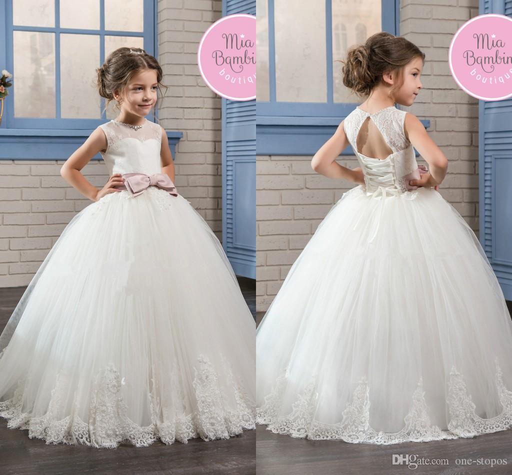 Puffy Ball Gowns Flower Girl Dresses For Weddings White Tulle Floor ...