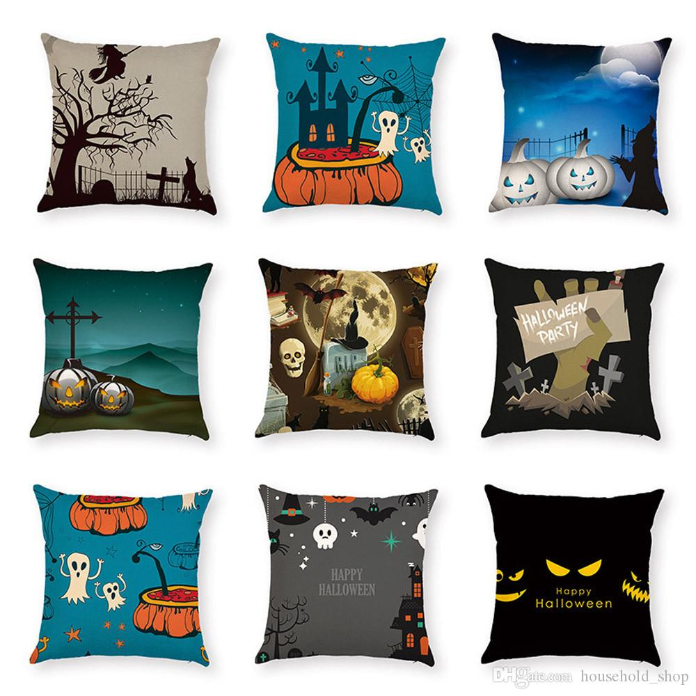 Halloween Pillow Case Digital printing car Cushion 9 Colors Carton Support OEM Witch Graveyard Pumpkin Pillow case cover Free Shipping