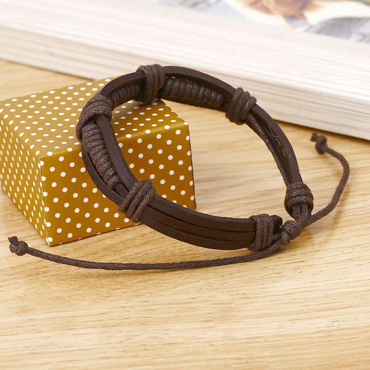 Bracelets Fashion Jewelry Handmade Woven Leather Women's Bracelet Men's Rivet Alloy Bracelets Casual Vintage Rock Punk Bracelet B0520