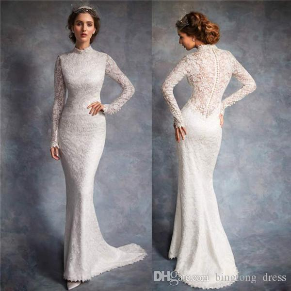 2017 Modest pnina tornai wedding dresses Ivory full lace Illusion Bodice  high collar long sleeve tulle Custom simple Country Bridal gown 12