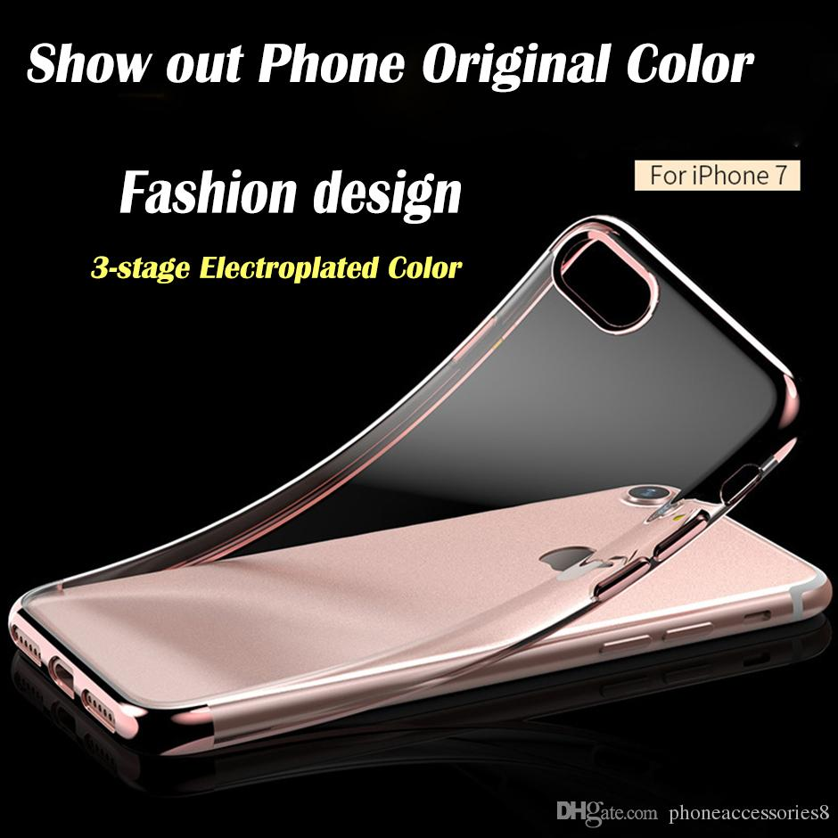 For iphone 6 iphone6 plus iphone 7 iphone7 plus tpu phone case 3 there  Segment electroplated color transparent tpu phone case