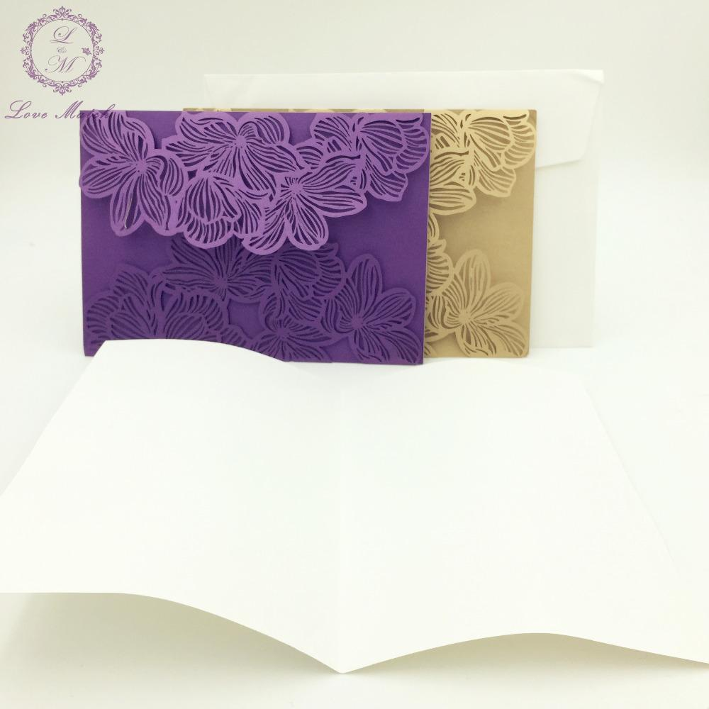 Wholesale Flower Wedding Business Party Birthday Invitation Laser Cut Cards Card Luxury Free Online Greetings