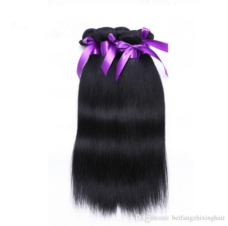 Factory price grade 5A #1 jet black Wholesale Straight brazilian peruvian 100%Virgin Human Hair Weave 50g 3 BundlesHair Extensions