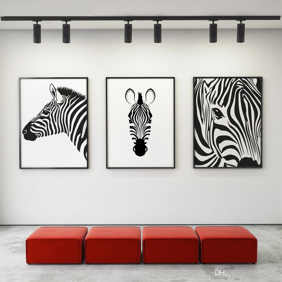 2018 Canvas Painting Nordic Black White Animal Horse Wall Art