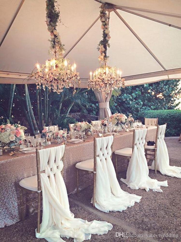 2018 낭만적 인 결혼식 의자는 흰색 상아 축제 축하 생일 파티 이벤트 Chiavari 의자 장식 웨딩 의자를 구슬 띠를 활 굵게 200 * 65 CM