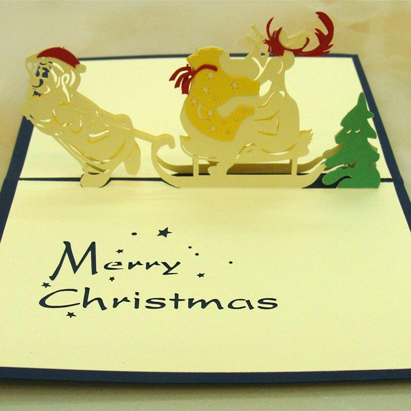 High End Engaved 3d Pop Christmas Card Christmas Festival Gift Wish ...