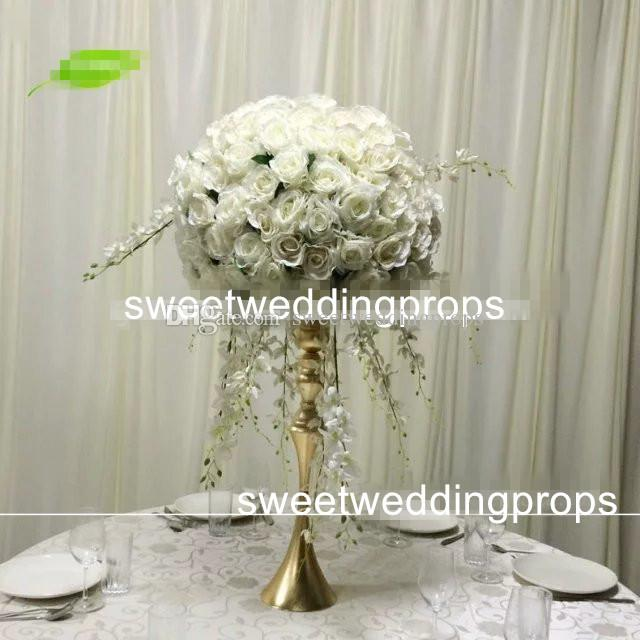 nessun fiore compreso Supporto fiori alto in argento da matrimonio, centrotavola decorazione navata laterale