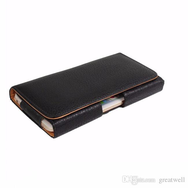 Universal Litchi Grain PU Housse en cuir taille housse avec Clip Ceinture pour iPhone 6 7 Plus Samsung Galaxy S5 Note 4