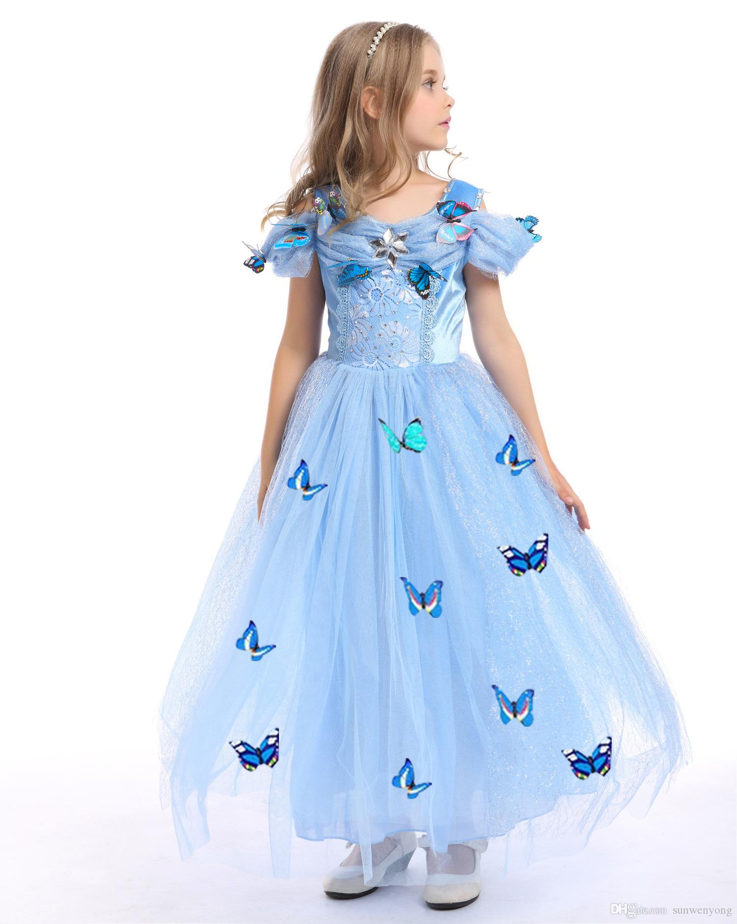 2018 2017 Girls Cinderella Princess Butterfly Party Dresses Cosplay ...