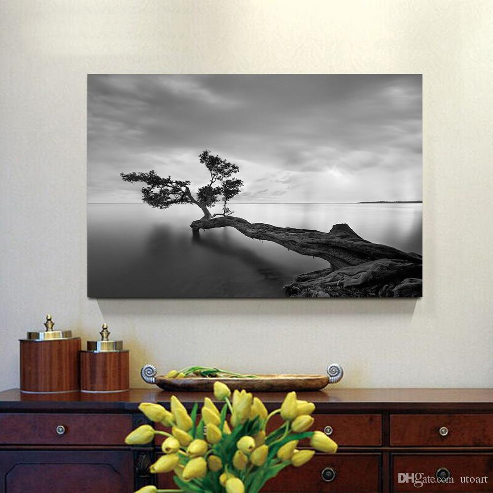 living room art prints%0A      Gray Seascape Photo Print Canvas Painting Home Decor Canvas Wall Art  Picture Digital Art Print For Living Room From Utoart           Dhgate Com