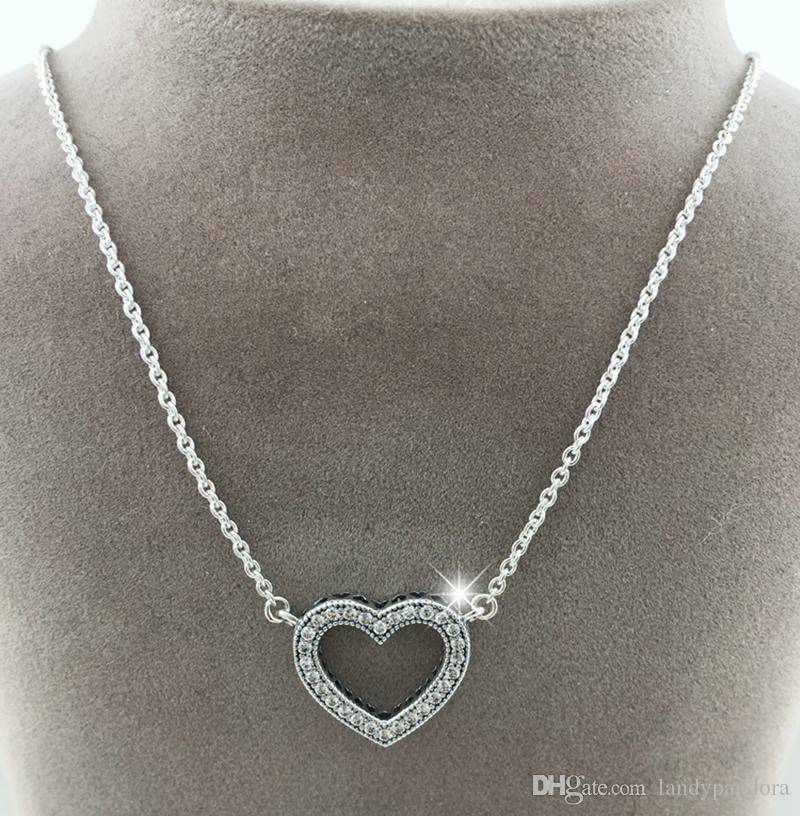 97199c25e Wholesale 100% 925 Sterling Silver Chain Loving Hearts With Clear CZ  Necklace Fits Pandora Style Jewelry Charms And Beads Diamond Pendant  Necklace Gold ...