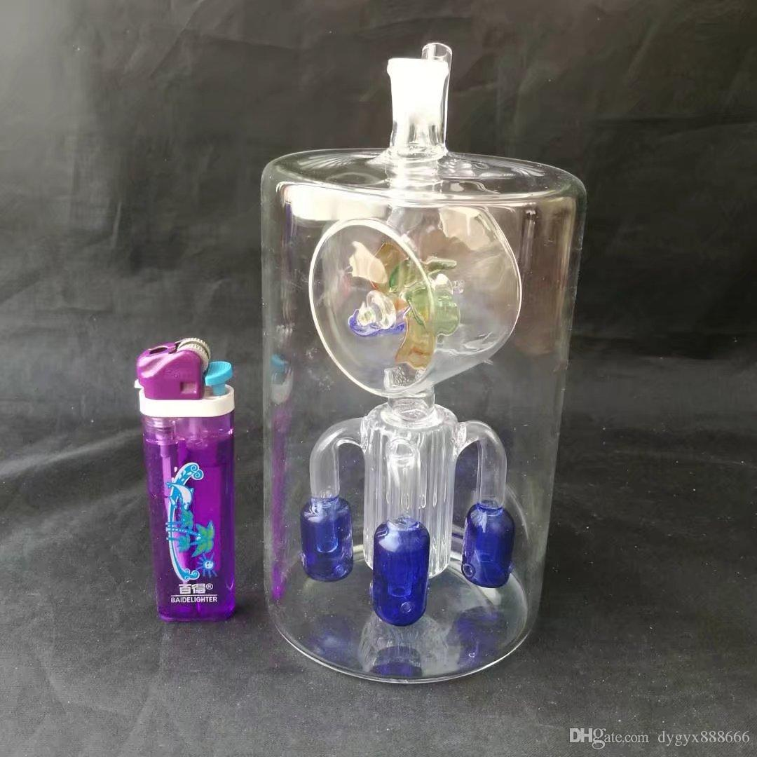 01 Büyük yuvarlak göbek fırıldak dört pençe filtre bongs, Toptan cam bongs, cam su borusu, cam yağ yakıcı, adaptör, kase
