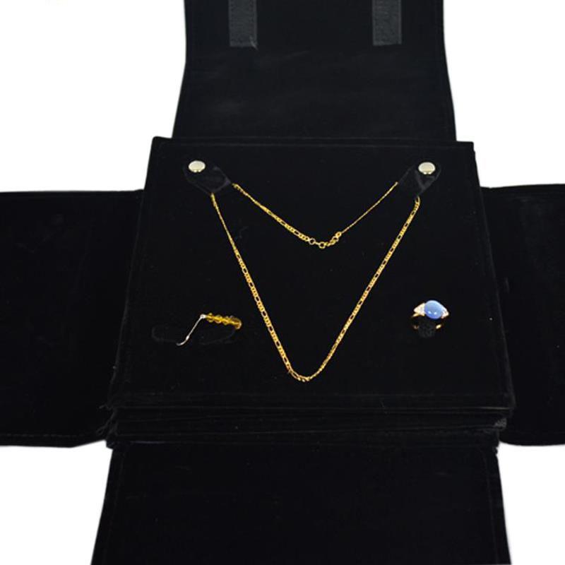 Portable Multi-functional Velvet Jewelry Display Storage Travel Roll Bag Organizer for Pendant Necklace Earrings Ring Set Holder