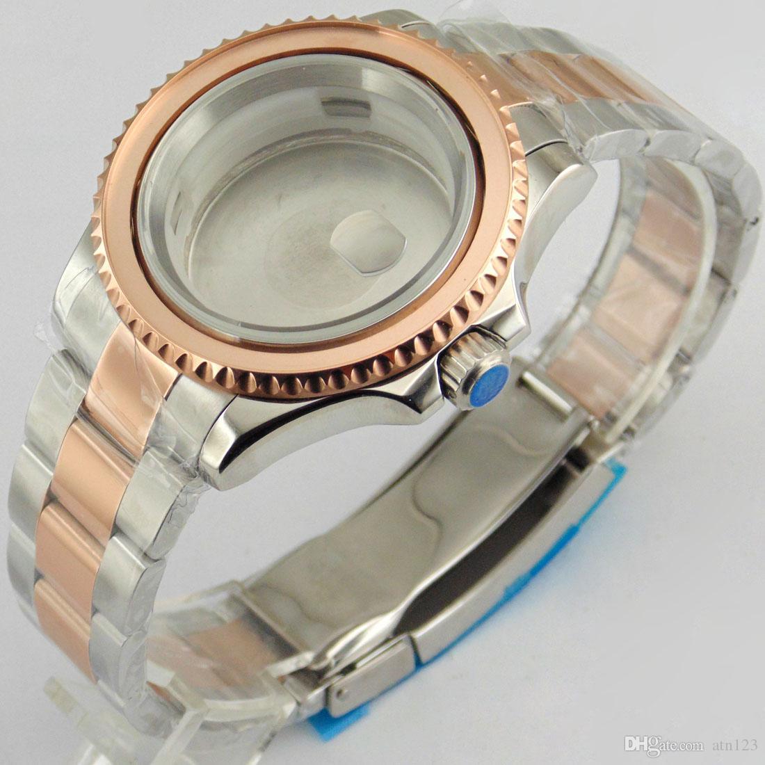 40mm rose gold watch case para eta 2836 dg2813 / 3804 miyota 82series alta quaity stanless aço assista case p563