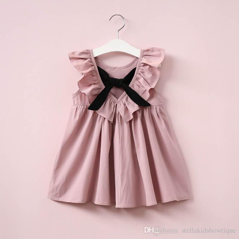 15e4b69307c49 Satın Al Tozlu Pembe Bebek Kız Elbise Fırfır Yaka Çocuk Giysileri Backless  Çocuk Giysileri Yaz Kız Elbise Yay Ile Sevimli Toddler Elbise, $6.09 |  DHgate.