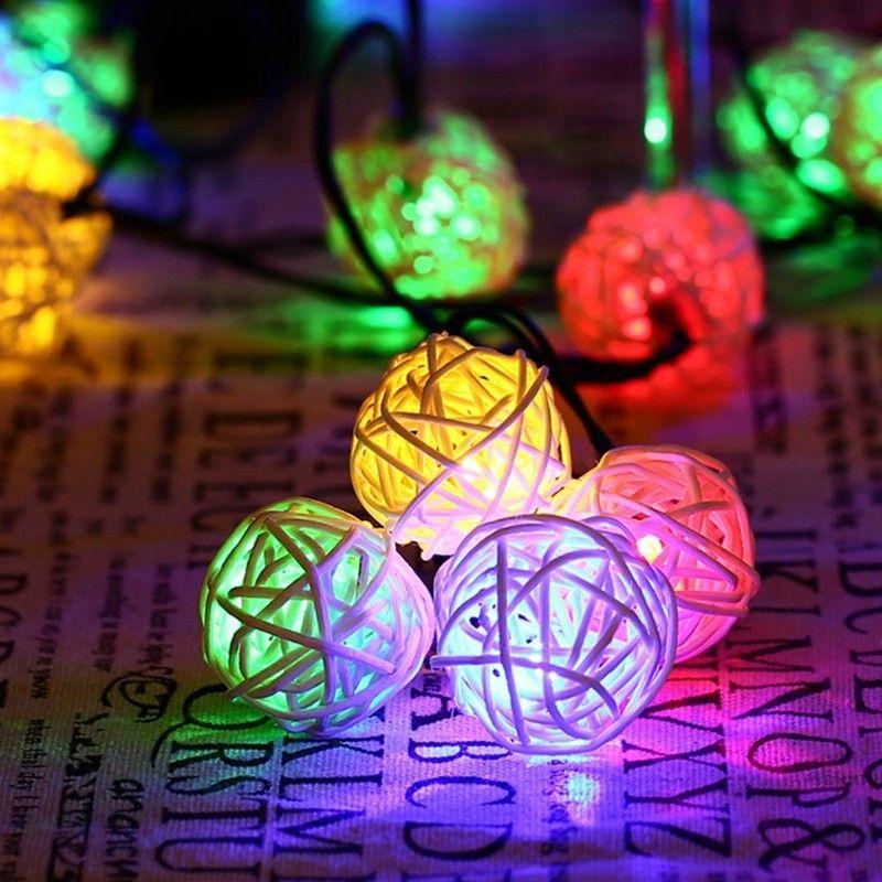 30 led rattan ball lamp solar powered string lights waterproof globe rh dhgate com