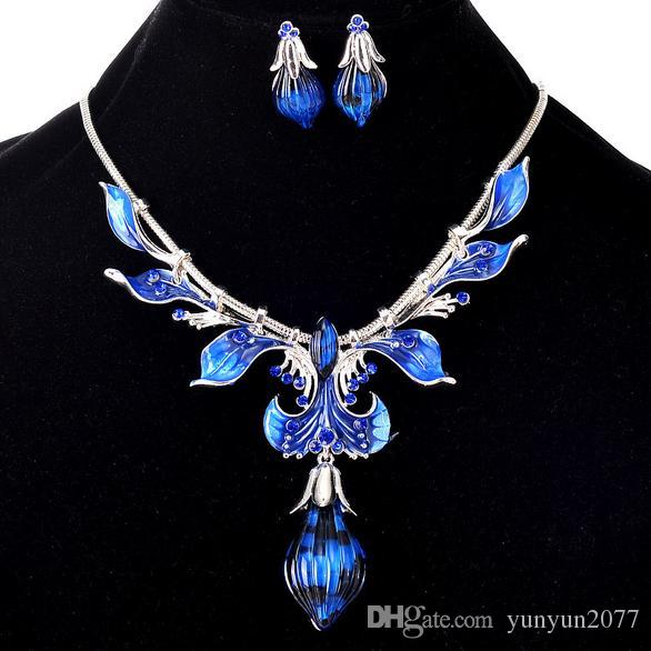 Fashion Accessories Jewelry Sets Retro Vintage Brand Peacock Feather Leaves Charm Pendant Chokers Necklaces Drop Dangle Earrings For Women