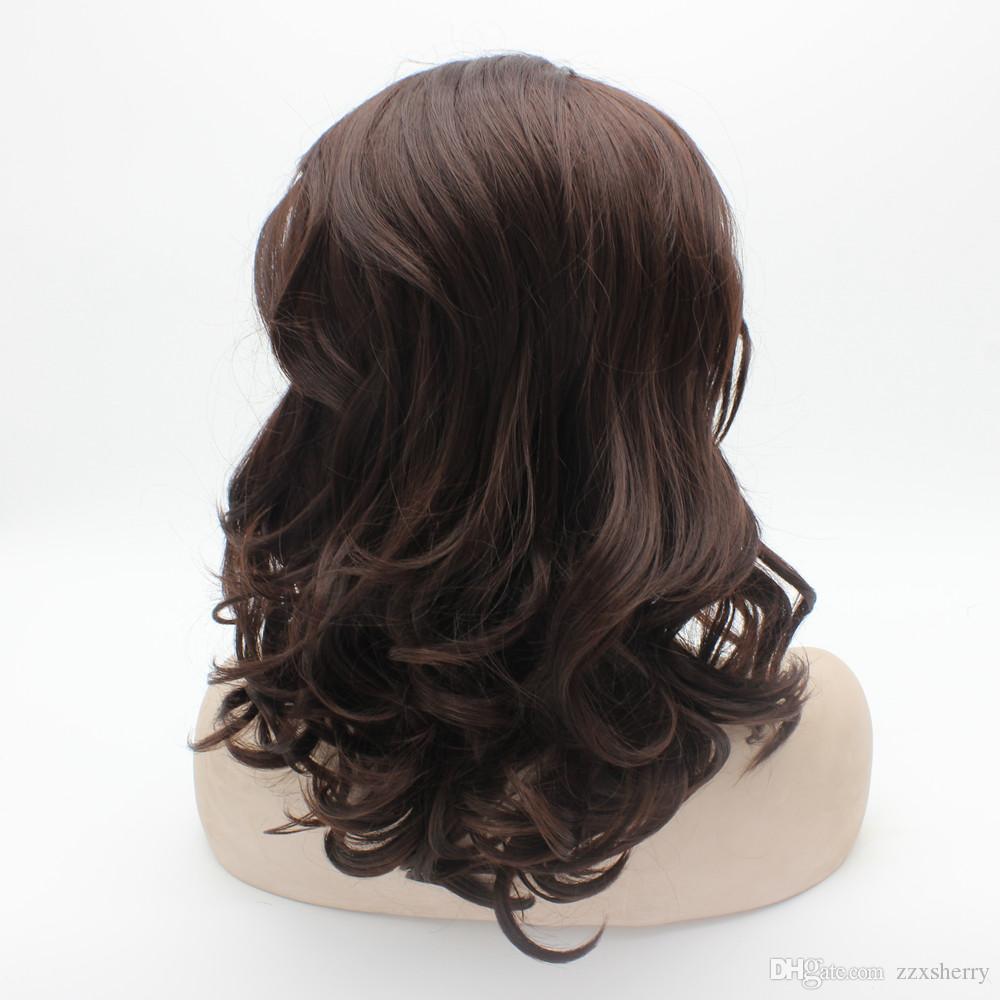 "16"" #33 Dark Auburn Wavy Heavy Density Heat Friendly Synthetic Hair Front Lace Wig"