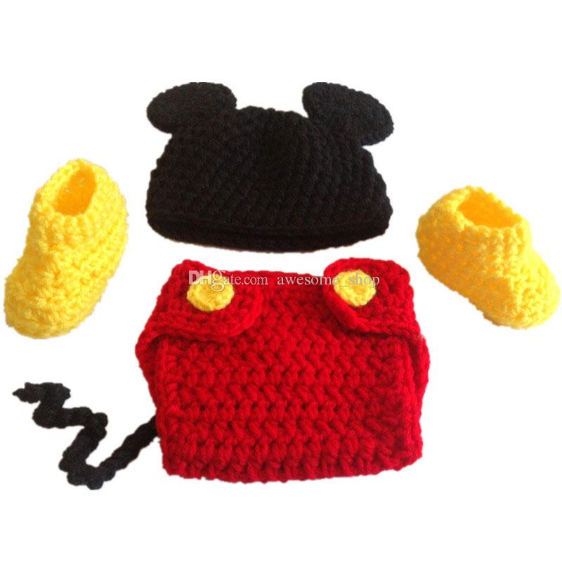 Adorable Cartoon Mouse Newborn Outfits,Handmade Crochet Baby Boy Girl Animal Hat,Diaper Cover and Booties Set,Halloween Costume,Photo Prop