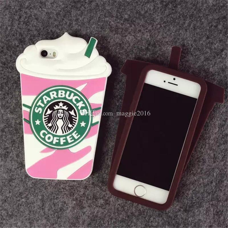 Hot Sale 3D Cartoon Silicon Starbuck Coffee Cup Case Cover For iPhone 4S 5S SE 6 6S 7 7plus For Samsung Galaxy S3 S4 S5 S6 S7 edge Plus