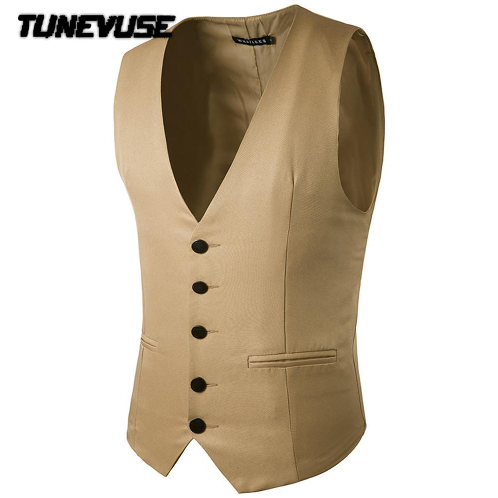 2017 Wholesale Male Cotton Solid Slim Dress Vests Men'S Casual ...