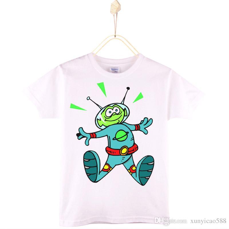 8b4a72c6694 2019 2017 Kids Clothes E.T. Alien UFO Cartoon Print White Children T Shirt  100% Cotton Baby T Shirts Girls Tops Tees Boys Tshirts From Xunyicao588