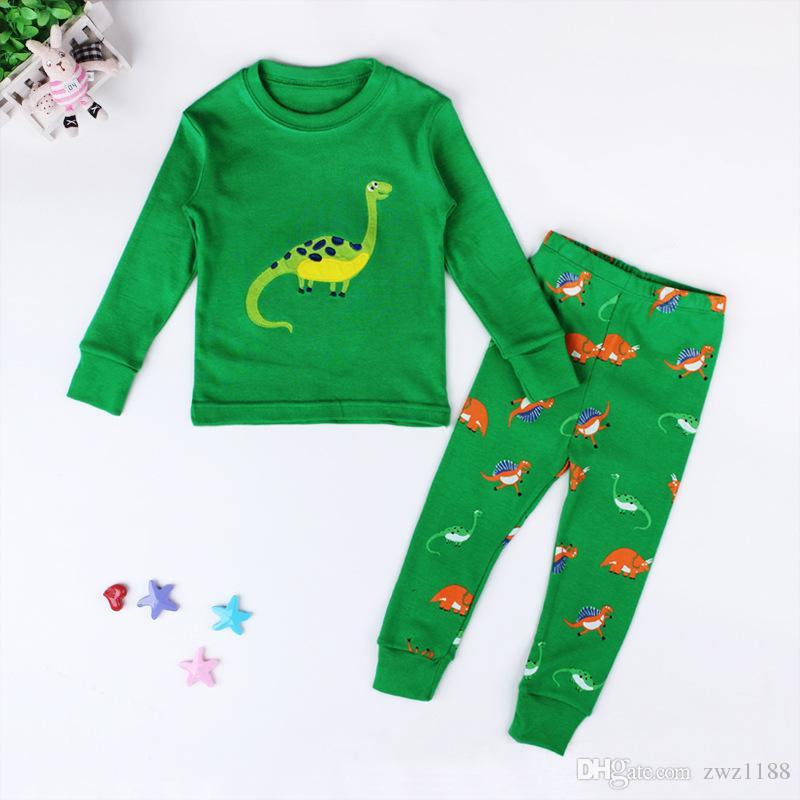 Dinosaurier Jungen Pijama Cotton Pyjamas für Kinder Cartoon Nachtwäsche Kleidung Mädchen Pyjamas Siut Long T-shirt + Pants Frühling Pijamas
