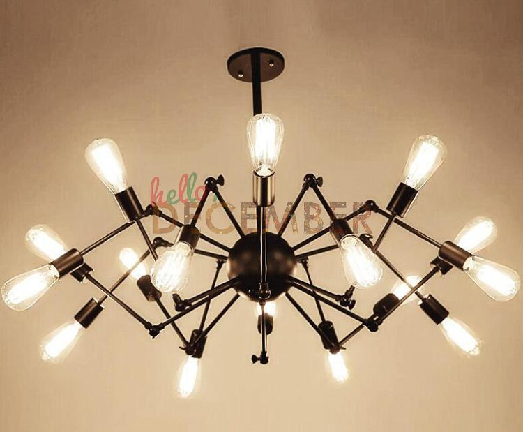 Vintage LED Pendant Lights 8 12 18 Light Adjustable Metal Ceiling Lamps Industrial Chandelier Pendant Light AC 100-240V