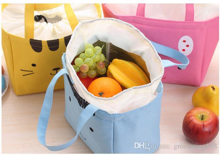 Canvas Cute Lunch Bags Katze Kinder Student Office Worker Aufbewahrungstasche Essen Obst trinken Isolierung / Ice Cooler Handtasche Produkte