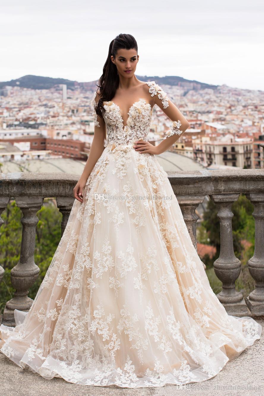 Blooming Flowers Long Sleeve Princess Wedding Dresses 2017 Milla ...