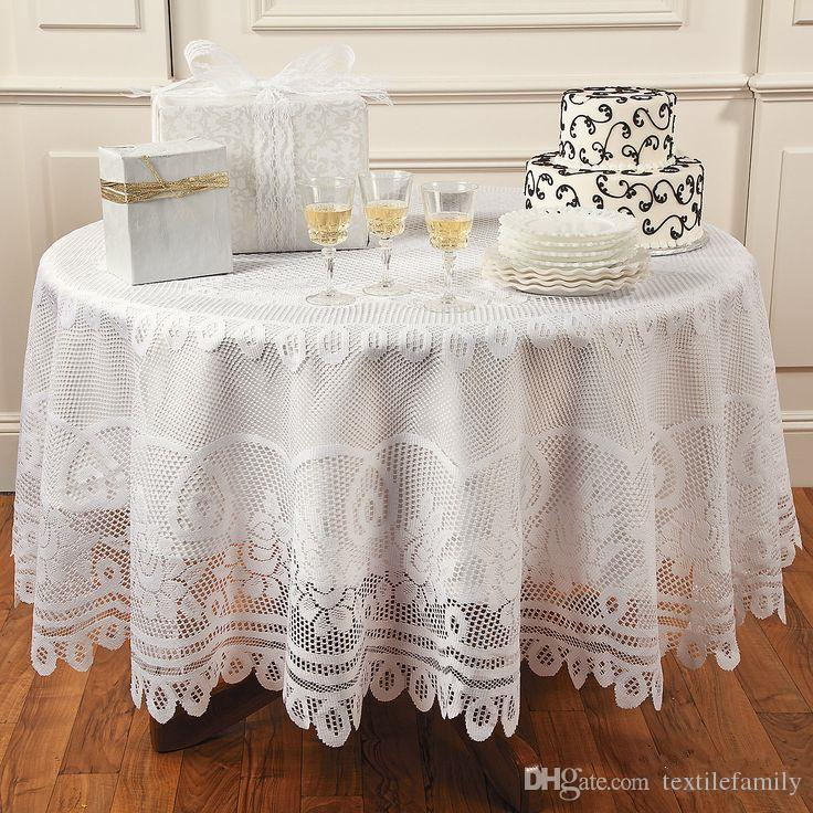 White Polyester Lace Jacquard Lace Tablecloth Rose Table Cover Round Table  Cloths Diameter 82 Inch Round Vinyl Tablecloths Plastic Tablecloth From ...