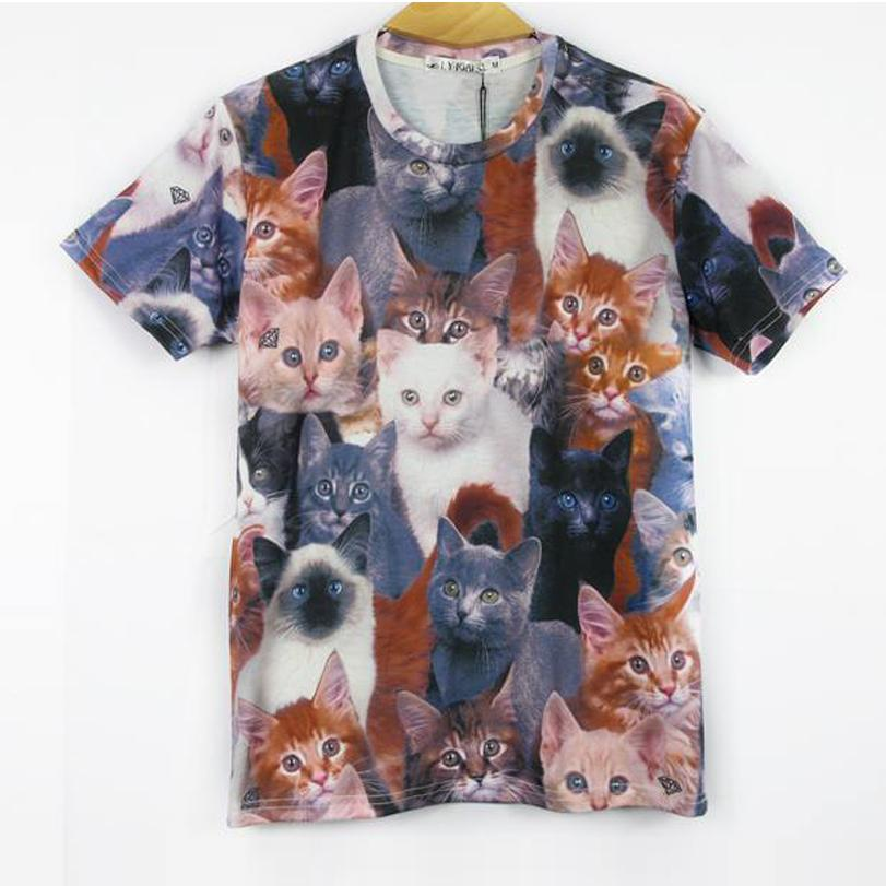 Wholesale-YNM New fashion women men 3d animal print t shirt cute cats Double printed funny t-shirts Galaxy short sleeves tshirts tops tee